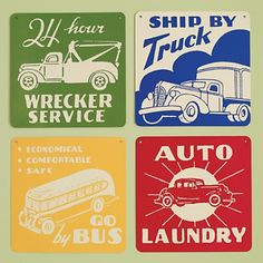 Vintage looking aluminum transportation signs perfect for a transportation themed nursery from Land of Nod