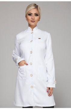 Jaleco Grã Duquesa - Branco Clinic Interior Design, Lab Coats, Spa Design, Fashion Outfits, Womens Fashion, Scrubs, Tweed, Ideias Fashion, Chef Jackets