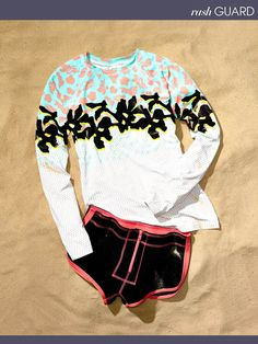DVF Loves Roxy Garden rash guard, $88 and Free Fall board shorts, $52 For information: roxy.com