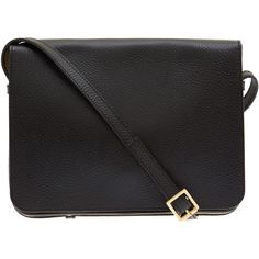 Sophie Hulme Black Square Leather Shoulder Bag (25975 TWD) ❤ liked on Polyvore featuring bags, handbags, shoulder bags, accessories, black, purses, black purse, black leather purse, satchel handbags and black satchel