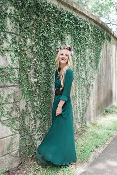 Modest full length sleeve green maxi dress | Mode-sty