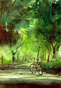 'Forest Bathing Road' - by Japanese artist Kazuo Kasai - (summer, art, illustrations, paintings) Watercolor Landscape, Watercolour Painting, Landscape Paintings, Watercolors, Painting Art, Japan Watercolor, Art Aquarelle, Bicycle Art, Bike