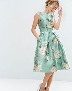 Chi Chi London Satin Midi Dress In Floral Print