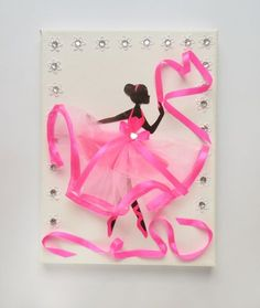 Ballerina picture on the wall / pink / ballet dancer / by MonnaAmina – Mona Amina - Diy & Crafts Projects Cadre Photo Mural, Ballerina Kunst, Ballet Art, Ballet Class, Ballet Dancers, Christmas Card Crafts, Presents For Girls, Button Art, Picture Wall