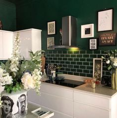 """Rockett St George on Instagram: """"The dark green painted walls and ceiling look incredible with a head-turning contrast between the dark green and the bright white cabinets.…"""""""