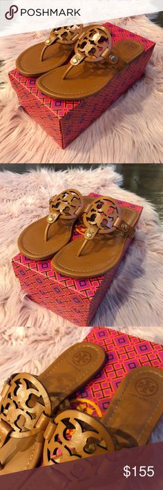 Tory Burch Miller Leather Sandals NWOT! Box is included.  Size 7.5 in women's, dark brown color (Vintage Vachetta).   Price is firm, no trades please! Tory Burch Shoes Sandals