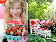 Berry Sweet Summer Strawberry Picnic Party -- fun theme. See more at Hostess with the Mostess. HAVE to do this for my girls!!
