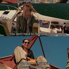 I'm not getting on that boat The Proposal Movie Quotes Dirty Dancing, Funny Movies, Great Movies, Love Movie, I Movie, Pulp Fiction, Grease, The Proposal Movie, Favorite Movie Quotes