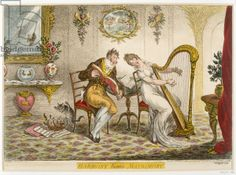 'Harmony before Matrimony', published 1805 (coloured engraving)