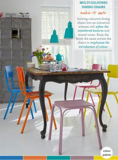 Multi-colored dining room chairs