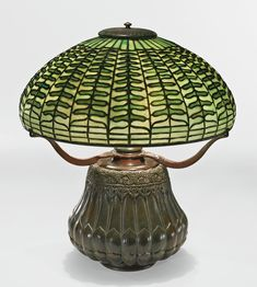 "Tiffany Studios - A rare ""Fern"" Table Lamp with a ""Night Blooming Cereus"" base, leaded glass and patinated bronze, circa Tiffany Stained Glass, Stained Glass Lamps, Tiffany Glass, Leaded Glass, Antique Lamps, Antique Lighting, Vintage Lamps, Unique Vintage, Louis Comfort Tiffany"