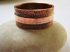 Idea- copper pipe hammered ring? Etched Line Copper Band Ring.  Handcrafted Jewelry by by ZaZing, NZ$55.00