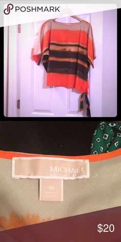 Michael Kors blouse Beautiful sunset 🌅 colors with a cute side detail.  Flowy Michael Kors Tops Blouses