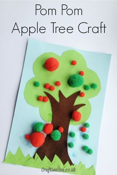 How to make this pom pom apple tree craft. Make these quick + easy autumn fall kids crafts in under 30 minutes with basic supplies! No special tools or skills are needed, so ANYONE can get crafty! Apple Activities, Autumn Activities, Craft Activities, Autumn Crafts, Fall Crafts For Kids, Kids Crafts, Craft Kids, Harvest Crafts For Kids, Winter Craft