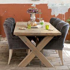 Hoxton Oak Cross Leg Dining Table in Dining Room - Modish Living