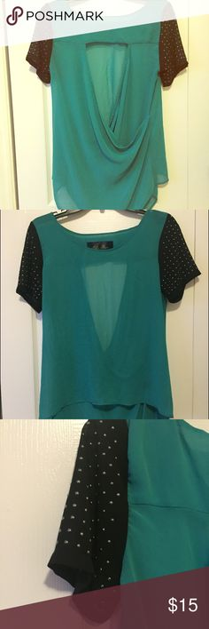 Blue Rain open-back top Blue Rain blouse. Green with black detailed sleeves. Cut out back. Size M. Blue Rain Tops