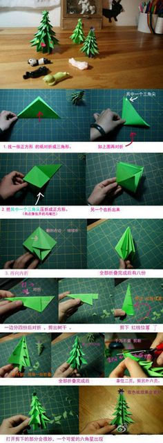 How to fold paper craft origami Christmastime tree step by step DIY tutorial instructions / How To Instructions Origami Christmas Tree, Noel Christmas, All Things Christmas, Winter Christmas, Christmas Ornaments, How To Make Christmas Tree, Xmas Trees, Origami Tutorial, Origami Instructions