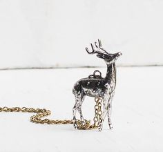DEER Pendant Silver Reindeer Stag Necklace by redtruckdesigns