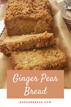 French Delicacies Essentials - Some Uncomplicated Strategies For Newbies Ginger Pear Bread Combines Sweet, Delicate Pears With A Nice Dose Of Bold Ginger Flavor. A Must-Bake For Fall - Bake Or Break Pear Dessert Recipes, Pear Recipes, Just Desserts, Gourmet Recipes, Sweet Recipes, Baking Recipes, Delicious Desserts, Cake Recipes, Cleaning Recipes