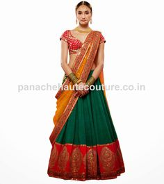 This wedding lehenga is made of Green color raw silk having zari work red color border on hemline. This lehenga is on SALE