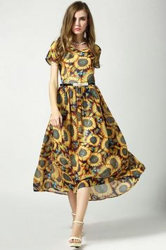 Sunflower Print Chiffon Swing Dress - OASAP.com