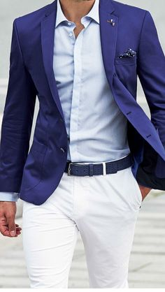 A bright blue blazer with white pants, a white shirt, and a pocket square accent...not sure I can go to the white pants though ...