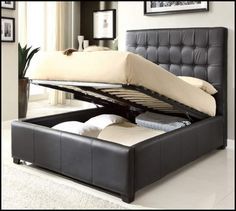 tall platform queen bed frame with storage - Google Search