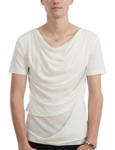Doublju Mens Layered Shirring T-shirts WHITE M(ZZ31):Amazon:Clothing