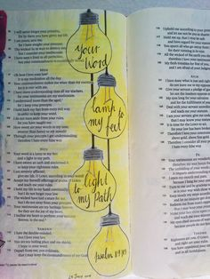 Your word is a lamp to my feet and a light to my path. Psalm 119:105 #biblejournaling #illustratedfaith #lovegodgreatly