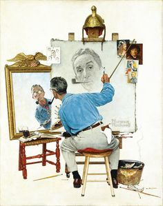 "Love his work. The late Norman Rockwell. Norman Rockwell painting Norman Rockwell - I love his artwork! The late Norman Rockwell painted ""Triple Self-Portrait"" in 1960 for the Feb. 13 cover of the Saturday Evening Post. Norman Rockwell Self Portrait, Norman Rockwell Art, Norman Rockwell Paintings, Peintures Norman Rockwell, Vintage Illustration, American Illustration, Grandma Moses, Fine Art, Mail Art"