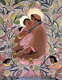 """Saint Francis and Christ Child"" by Hector Hippolyte Voodoo Priestess, Haitian Art, African Diaspora, Illustrations, Weird And Wonderful, Outsider Art, Lovers Art, Black History, Folk Art"
