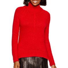 a.n.a Long-Sleeve Turtleneck Sweater (€18) ❤ liked on Polyvore featuring tops, sweaters, red sweater, turtleneck sweater, long sleeve turtleneck, red top and long sleeve sweaters