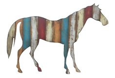 """One Kings Lane - Down on the Farm - 24"""" Wood Horse Plaque, Multi"""