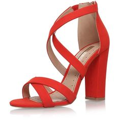 Faun Red High Heel Sandals by Miss Kg ($96) ❤ liked on Polyvore featuring shoes, sandals, red, miss kg, heeled sandals, synthetic shoes, red shoes and red heeled sandals
