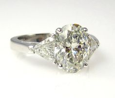 Estate Vintage 3.32ct Classic OVAL Cut Diamond EGL USA Engagement Ring in Platinum with Trillions