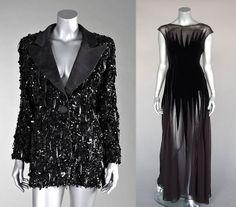 VINTAGE- Left, 1980s Lancetti embellished tuxedo jacket; right, 1980s Thierry Mugler dress.