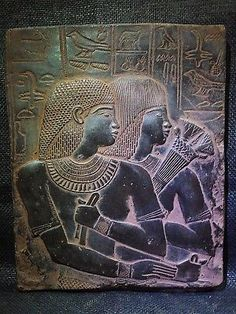 ANCIENT EGYPT EGYPTIAN ANTIQUE Ambassador Maya & Wife Stela Relief 1386-1349 BC