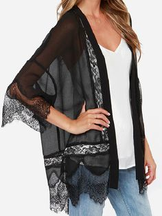 The Rambling Rose Black Lace Kimono Top has sultry black fabric flowing down this open front kimono top with luscious lace encircling the hem. Black Lace Kimono, Kimono Top, Hippie Style, My Style, Chiffon Cardigan, Queen, Pretty Outfits, Passion For Fashion, Dress To Impress