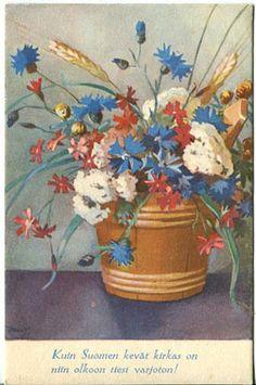 MW Lovely Things, Martini, Finland, Ephemera, Planter Pots, Illustration, Pretty, Flowers, Painting