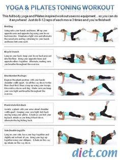 Yoga  Pilates Toning Workout exercises