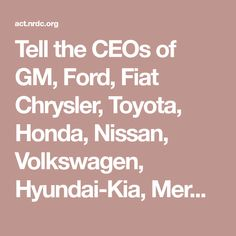 Tell the CEOs of GM, Ford, Fiat Chrysler, Toyota, Honda, Nissan, Volkswagen, Hyundai-Kia, Mercedes-Benz, and BMW to stand strong against President Trump and EPA Administrator Scott Pruitt's attack on lifesaving standards that cut emissions from cars and trucks.