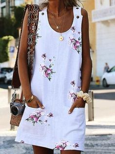 Women's Dresses – Print/Floral Sleeveless Shift Above Knee Casual Dresses - 2019 Mode Robes Midi, Casual Jumpsuit, Dress Casual, Casual Outfits, Elegant Jumpsuit, Jumpsuit Outfit, Casual Shirt, Girly Outfits, Mini Vestidos