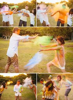 Powdered paint can be lots of fun! A Colourful Sydney Engagement Session by Origami Creatives
