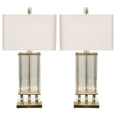 1stdibs.com | Stunning Pair of Crystal and Brass Lamps by Gaetano Sciolari