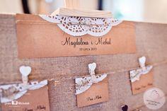 dekoracje ślubne tablica usadzenia gości