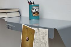 Despite of the material thickness the shelf provides stability and spaciousness.  By bending a single surface a stable form is generated. BOB is the second product, which formknast designed for the german company deparso.  A functional bonus is the bezel at the front: It can be equiped individually by using magnets. Postcard, notes or keys find a suitable place. The different depths of the shelf provide convenient storage space for large books, small books and accessories. — form|knast… Small Book, Bending, Stability, Industrial Design, Storage Spaces, Keys, Magnets, Two By Two, Shelf