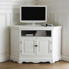 Mueble de TV blanco esquinero de madera de paulonia An. 105 cm