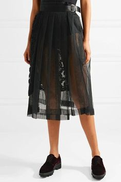 Black tulle and faux leather Buckle fastening at side Fabric1: 100% nylon; fabric2: 100% polyester Dry clean Made in Japan