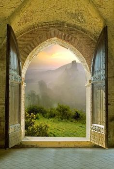 Arched Doorway, Tuscany, Italy.