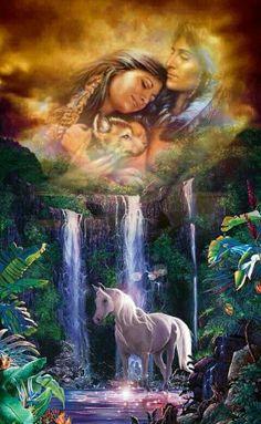 Crystal Falls III by Christian Riese Lassen – Kitchen Backsplash / Bathroom Wall Tile Mural Unicorn And Fairies, Unicorn Fantasy, Unicorn Art, Unicorn Horse, Magical Unicorn, Beautiful Unicorn, Beautiful Horses, Animals Beautiful, Unicorn Pictures